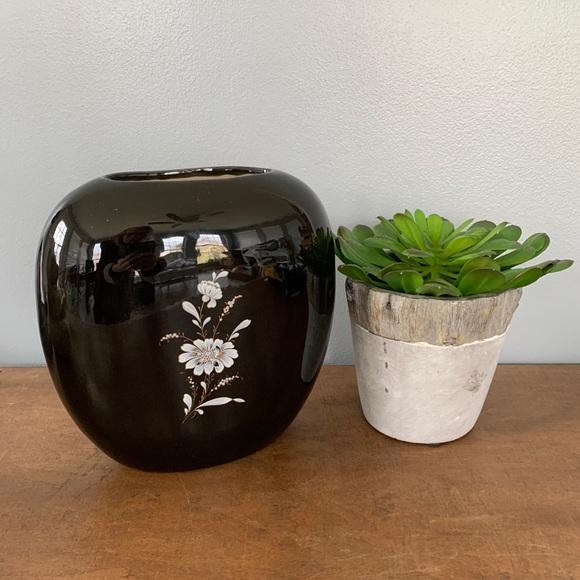 Vintage Mid Century Flat Oval Vase